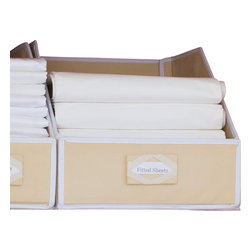 Great Useful Stuff - Collapsible Linen Closet Storage, Beige, Medium - Don't let your bathroom closet become a dumping ground for towels and toiletries. Reclaim your space with these linen closet organizers. The fiberboard panels stand tall while you separate your towels and linens and neatly put them away. There are even preprinted labels you can attach to guide your kids when they help with the laundry.