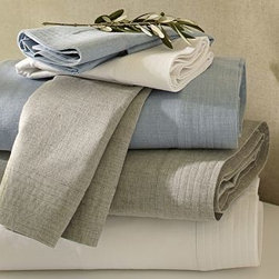Heathered Cotton Sheet Set, Full, Smoke Gray - We've given the classic sheet set a modern makeover with heathered cotton and a relaxed tuxedo-shirt trim. Made of pure cotton. 200-thread count. 300-thread count. Set includes flat sheet, fitted sheet and two pillowcases (one with twin). Sheets also sold individually: flat sheet, fitted sheet or 2 pillowcases. Machine wash. Catalog / Internet only. Imported.