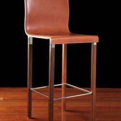 Emile Bar Stool - The rich saddle leather seat is so elegant and graceful.