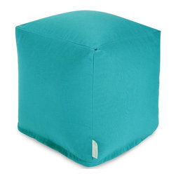 Majestic Home Goods - Teal Small Cube - Add style and color to your living room or outdoor seating arrangement with Majestic Home Goods Teal Small Cube Ottoman. This cube is perfect for use as a footstool, side table or as extra seating for guests. Woven from outdoor treated polyester, these cubes have up to 1000 hours of U.V. protection and are able to withstand all of nature��_s elements. The beanbags are eco-friendly and feature a zippered slipcover. Spot clean slipcover with mild detergent and hang dry. Do not wash insert.