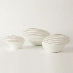 Cyclone Vase- Small, Medium and Large - Quirky and fun, these irregularly-shaped cased glass funnel vases begin as an