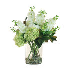 Hydrangea and Delphinium In Glass