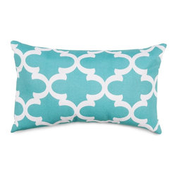 Majestic Home Goods - Teal Trellis Small Pillow - Add a splash of color and a little texture to any room with these plush pillows by Majestic Home Goods. The Majestic Home Goods pillow will instantly lend a comfortable look to your living room, family room or bedroom. Whether you are using them as decor throw pillows or simply for support, Majestic Home Goods pillows are the perfect addition to your home. These throw pillows are woven from Cotton Twill, and filled with Super Loft recycled Polyester Fiber Fill for a comfortable but durable look. Spot clean only.