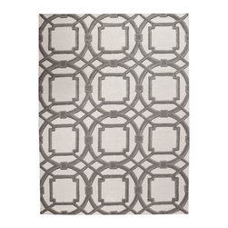 Global Views - Global Views Arabesque Grey Rug - A Moroccan-inspired geometric pattern in shades of grey with an ivory background creates neutral territory in Global Views' Arabesque wool rug. Make a global statement in any room with this graphic, hand-tufted floor covering. Available in several sizes; 100% wool pile with 100% cotton backing; Hand-tufted; Hand-dyed in custom colors to work in today's interiors; Exclusive design created by in-house design team
