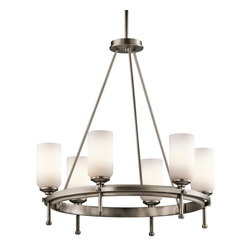 Kichler Lighting - Kichler Lighting Ladero 6-Light Transitional Chandelier X-PA74924 - This understated 6 light chandelier from the Ladero&trade: collection is a versatile accent piece. The Antique Pewter finish and Satin Etched Cased Opal Glass combine to form an elegant statement.