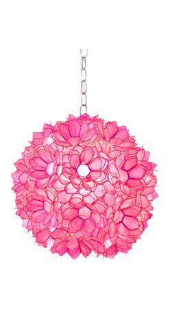 "Worlds Away Capiz Shell Floral Venus Pendant, Pink - 15""dia pink lotus capiz pendant with single 60w socket. Comes with 3' chrome chain and canopy. Also available in brown, natural, gold and turqouise."