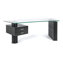 "Trapeze desk - The modern Trapeze desk is made of black leather post/column with 2 black wood drawers, the size is 86"" x 33"""