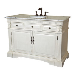 Bellaterra Home - 50 in Single sink vanity-wood-antique white - Add a traditional single sink vanity to your bathroom decor is easy. This vanity is solid birch finished in antique white finish and has fluted columns and carved details. It is all hand  carved to add value to this vanity that you will not be disappointed.  he counter top is polished white marble with a cUPC white under-mount sink. Birch + plywood