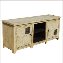 ... cabinet sections and a two shelf open center area. Each door features