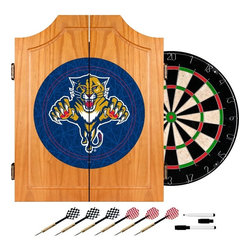 Trademark Global - Fully Equipped Dart Cabinet w NHL Florida Pan - Enhance your game room décor while adding an element of sporty style with this Florida Panthers themed pine dart cabinet, a perfect gift idea for your favorite hockey fan. The cabinet includes a dart board, two sets of steel tipped darts and a dry erase board with a marker and eraser. Includes dartboard, 6 darts, scoreboard, out chart, marker and mounting brackets. Full color logo displayed on front of cabinet. Full color logos also displayed above the scoreboards inside the cabinet doors. Bristle dartboard. 2 Set of darts. Solid wood cabinet. Medium wood finish. 23.25 in. W x 3.50 in. D x 21.25 in. H (30 lbs.)This National College League Officially Licensed Dart Cabinet with quality dart board and darts included.
