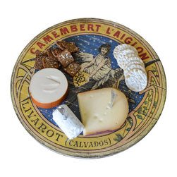 Vintage Label Lazy Susan - This distressed lazy susan, featuring a print from a vintage French label, is perfect for serving your guests. The charming top and delicate spin makes hosting a breeze. Both stylish and functional; use the lazy susan for your dining or coffee table!