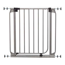 "Dreambaby - Dawson Swing Closed Security Gate-Silver - to install. Suitable for stairs also, you can feel peace of mind knowing your child is safer. It will fit openings of 28""-32"" on its own or with optional extensions, sold separately, it can be increased to fit up to 53."" This Dreambaby® pressure-mounted gate is easily installed and for most situations there is no need to screw into woodwork or walls unless used at the top of stairs where the mounting cups must be screwed in for added security. Great for pets too!"