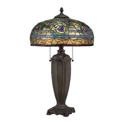 Quoizel - Quoizel TF1487T Lynch Tiffany Table Lamp - Elegant Tiffany style is a timeless staple of home decor.  The various designs are handassembled using the copper foil technique developed by Louis Comfort Tiffany.  With an enormous variety of colors and patterns to choose from, Quoizel Tiffany�۪s have become more popular than ever.