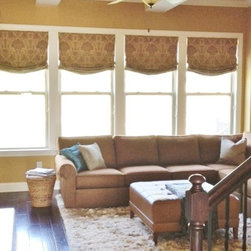 Relaxed Roman Shades - These custom made relaxed Roman shades with a soft damask pattern complete this room where curtain panels may have been a little overwhelming. All available through The Curtain Exchange of Nashville.