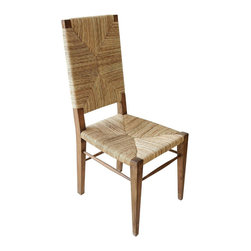 """Noir - Noir Neva Chair Teak - Enticing texture warms the Noir Neva chair with natural style. Rich in seagrass, the chic wood seat delivers the modern table organic allure. 18""""W x 22""""D x 42.5""""H; Teak"""