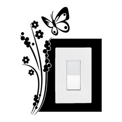 StickONmania - Lightswitch Butterfly Motif #8 Sticker - A vinyl sticker decal to decorate a lightswitch.  Decorate your home with original vinyl decals made to order in our shop located in the USA. We only use the best equipment and materials to guarantee the everlasting quality of each vinyl sticker. Our original wall art design stickers are easy to apply on most flat surfaces, including slightly textured walls, windows, mirrors, or any smooth surface. Some wall decals may come in multiple pieces due to the size of the design, different sizes of most of our vinyl stickers are available, please message us for a quote. Interior wall decor stickers come with a MATTE finish that is easier to remove from painted surfaces but Exterior stickers for cars,  bathrooms and refrigerators come with a stickier GLOSSY finish that can also be used for exterior purposes. We DO NOT recommend using glossy finish stickers on walls. All of our Vinyl wall decals are removable but not re-positionable, simply peel and stick, no glue or chemicals needed. Our decals always come with instructions and if you order from Houzz we will always add a small thank you gift.