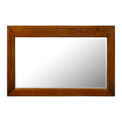 China Furniture and Arts - Rosewood Longevity Design Mirror - With classic rosewood frame and elegant hand-carved longevity symbols on top, our rectangular mirror easily fits a variety of decorating styles. Perfect to hang in the bedroom, bathroom or hallway. Beveled mirror. Hand applied natural finish. Brass hangers included.