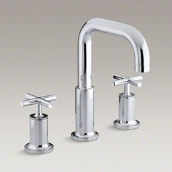 KOHLER - KOHLER Purist(R) deck-mount bath faucet trim for high-flow valve with cross hand - Purist faucets and accessories combine simple, architectural forms with sensual design lines. Featuring this modern, minimalist style, this Purist bath faucet trim includes a spout and ergonomic cross handles that add sophistication to your bath. The two
