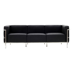 Modway Furniture - Modway Charles Grande Leather Sofa in Black - Grande Leather Sofa in Black belongs to Charles Collection by Modway Urban life has always a quandary for designers. While the torrent of external stimuli surrounds, the designer is vested with the task of introducing calm to the scene. From out of the surging wave of progress, the most talented can fashion a forcefield of tranquility. Perhaps the most telling aspect of the Charles series is how it painted the future world of progress. The coming technological era, like the externalized tubular steel frame, was intended to support and assist human endeavor. While the aesthetic rationalism of the padded leather seats foretold a period that would try to make sense of this growth. The result is an iconic sofa series that became the first to develop a new plan for modern living. If previous generations were interested in leaving the countryside for the cities, today it is very much the opposite. If given the choice, the younger generations would rather live freely while firmly seated in the clamorous heart of urbanism. The Charles series is the preferred choice for reception areas, living rooms, hotels, resorts, restaurants and other lounge spaces. Set Includes: One - Le Corbusier LC3 Sofa Sofa (1)