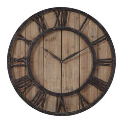 Uttermost - Uttermost Powell Wooden Wall Clock - Powell Wooden Wall Clock by Uttermost Aged Wood Panels Accented With Rustic Dark Bronze Metal Details And Gold Highlights. Quartz Movement.