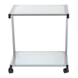 Eurostyle - Eurostyle L Printer Cart in Aluminum & Frosted Glass - Finished to match the L Desk, this cart has plenty of room for larger printer and supplies. And with four casters, it's ready to roll. What's included: Printer Cart (1).