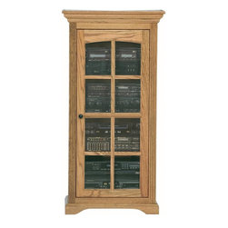 Eagle Industries - Oak Ridge Audio Tower w Glass Panel Door (Light Oak) - Finish: Light Oak. One glass panel door. Three adjustable glass shelves. Designed with decorative molding and fluted detailing. Warranty: Eagle's products are guaranteed against material defects for one year from date of delivery to the dealer. Made in USA. No assembly required. 27.5 in. W x 17.5 in. D x 54.75 in. H (66.3 lbs.)The Oak Ridge collection combines American oak hardwood with updated contemporary styling. Heavy crown molding, sleek lines, fluted side molding, black brushed metal hardware, solid oak frames and solid oak recessed doors give this transitional collection a style all its own
