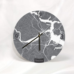 """ArtnWalls - BOSTON MAP ART Wall Clock - Unique Contemporary Art Wall clock - 11"""" Diameter, 1 - Abstract Boston map art - Features the streets of Chicago."""