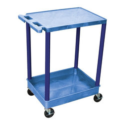 Luxor Furniture - Utility Cart w 2 Shelves in Blue - Four heavy duty 4 in. casters, two with brake. Stain, scratch, dent and rust resistant. 2.75 in. deep tub shelf. Push handle molded into flat top shelf. Shelves reinforced with two aluminum bars. Retaining lip around back and flat shelves sides. Weight capacity: 300 lbs.. Made from high density polyethylene structural foam molded plastic. Made in USA. 18 in. L x 24 in. W x 35.25 in. H. Warranty. Assembly Instructions  . Warranty