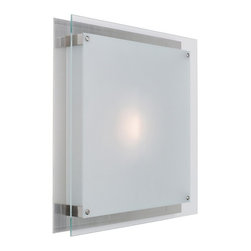 """Access Lighting - Access Lighting 50031-BS/FST Vision 11"""" Square Contemporary Wall / Flushmount Ce - Square, sleek and slim in profile, this ADA compliant series lends itself to commercial applications in an energy star or halogen configuration. Acid frosted glass simply mounted to a brushed steel frame resulting in a minimalist projection that barely exceeds 3""""."""