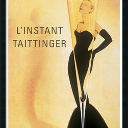 Amanti Art - Champagne Taittinger Framed with Gel Coated Finish - This vintage poster of a tall, thin, seductive champagne glass expresses the instant allure of Taittinger, the queen of champagne.