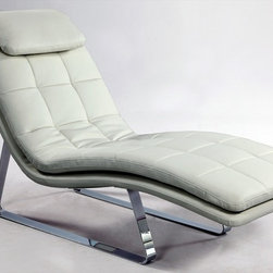 """Chintaly Imports - Corvette Chaise Lounge White - Sensational chaise lounge in full bonded leather with chromed steel legs. This will be the go to chair when you look for comfort to relax.; Chaise lounge; White full bonded leather; Chrome steel legs; Dimensions:27.95""""W x 66.93""""D x 35.83""""H"""