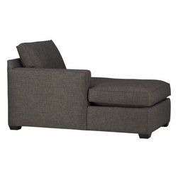 Davis Left Arm Sectional Chaise - Davis is a contemporary compact sectional designed for contemporary real life. Every imaginable configuration is possible between these modular pieces and the companion stand-alone pieces, all with firm but plump support. Upholstered in a rich tonal charcoal weave, they stand up to high traffic. Understated hardwood legs have a rich hickory finish. Sofa group also available.