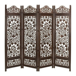 "Benzara - Malibu Wood Room Divider 4 Panel Carved Screen - Malibu wood room divider 4 panel carved screen. In antiqued wood one of the best room divider screen for your home. This 4 panel room divider is 72"" high and 80"" wide."