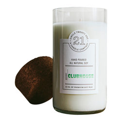 Circle 21 Candles - Clubhouse - Pure Soy Scented Candle, Clear - Citrus, fruit and geranium combine with undertones of wood, musk and a hint of Jamacian Rum. Approx 60 hours of burn time Made in a recycled wine bottle.