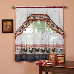 Achim - Achim Rooster Printed Tier Curtain and Swag Set - ROTS24BU12 - Shop for Curtains and Drapes from Hayneedle.com! The Achim Rooster Printed Tier Curtain and Swag Set is a playful window treatment that shows off country chic at its finest. The lightly ruffled swag and matching curtains are made from light polyester with a scattered fleur de lis pattern and strutting rooster trim that lends itself perfectly to the kitchen or laundry room. About Achim Importing Established in 1962 by its founder and current president Achim's home furnishing lines include many ready-made products specializing in decorative styles for the window and floor. Priding themselves on offering outstanding value Achim Importing puts the highest quality standards on all of their products. With a wide range of clients including major mass merchants home centers catalogs internet building suppliers and more Achim stocks most of their products in their 500 000-square-foot North Brunswick New Jersey warehouse so they can ship everything promptly.