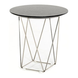 VIG Furniture - Modrest Spoke Modern Wenge End Table - The geometric stainless steel legs create an airy yet sophisticated feel for the Spoke end table. The natural wood grain adds a soft texture on the wenge circular top, creating the ideal contrast to the sleek decorative metal legs. Pair with the Spoke wenge coffee table to complete the set. Also available in walnut.