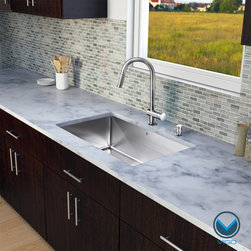 "Vigo - VIGO All in One 32-inch Undermount Stainless Steel Kitchen Sink and Faucet Set - Revitalize the look of your kitchen with a VIGO All in One Kitchen Set featuring a 32"" Undermount kitchen sink, faucet, soap dispenser, matching bottom grid and sink strainer."