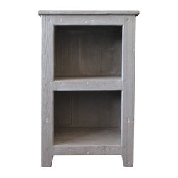 """Americana Cubby in Driftwood - Handcrafted by American artisans from reclaimed wood, Americana Cubby has a character as rich as its history. Its beautifully textured wood, rescued from American structures of the past: old barns, homesteads, and fencing, has stood the test of time. This heirloom cubby features open shelving, ideal for storing linens in the bathroom; in other areas of the home they can be used for displaying photos, books or other items. Pair with Americana Hutch to create a storage tower. Width 16"""" Height 31/2"""" Depth 19"""""""