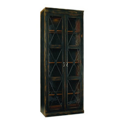 """Hooker Furniture - Sanctuary Two Door Thin Display Cabinet - Ebony - White glove, in-home delivery included!  Pursue serenity at home with the Sanctuary collection.  Create your own personal sanctuary, a special place where you can experience comfort within.  Comes in Dune or Ebony finish.  Reversible back panel (one side is contrasting wood finish and the other is the matching finish), five adjustable wood-framed glass shelves.  Can be used alone or bunched together.  Cabinet space: 31 1/2"""" w x 13 5/8"""" d x 77 3/8"""" h"""