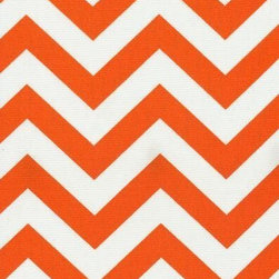 Orien Textile - Chevron - Outdoor Fabric, Orange & White - This great outdoor fabric is stain and water resistant, perfect for outdoor settings and indoors in sunny rooms. It is fade resistant up to 500 hours of direct sun exposure. Create decorative toss pillows, chair pads, tabletop and tote bags. To maintain the life of the fabric bring indoors when not in use. This fabric can easily be cleaned by wiping down or hand washing with warm water and a mild soap solution, simply rinse with clear water to prevent dirt from embedding itself into the fabric.