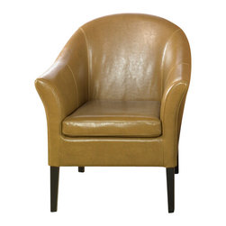 Armen Living - Camel Leather Club Chair - Lap of luxury. This smart looking camel leather club chair is great for home or office. Comfortable padding and California Fire Retardant rated. Armen Living is the quintessential modern-day furniture designer and manufacturer. With flexibility and speed to market, Armen Living exceeds the customer s expectations at every level of interaction. Armen Living not only delivers sensational products of exceptional quality, but also offers extraordinarily powerful reliability and capability only limited by the imagination. Our client relationships are fully supported and sustained by a stellar name, legendary history, and enduring reputation. The groundbreaking new Armen Living line represents a refreshingly innovative creative collaboration with top designers in the home furnishings industry. The result is a uniquely modern collection gorgeously enhanced by sophisticated retro aesthetics. Armen Living celebrates bold individuality, vibrant youthfulness, sensual refinement, and expert craftsmanship at fiscally sensible price points. Each piece conveys pleasure and exudes self expression while resonating with the contemporary chic lifestyle.