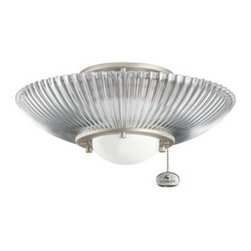 Kichler - Kichler 380112NI 1 Light Decorative Ribbed Fixture Fan Light Kit in Brushed Nick - The Kichler is a transitional fan light kit. The transitional style is sure to compliment any decor.For use with most Kichler ceiling fans Clear ribbed exterior glass Etched opal interior glassBulb Base: Medium Bulb Included: No Bulb Type: Halogen Country of Origin: China Energy Efficient: No Finish: Brushed Nickel Height: 5-1 2 Number of Lights: 1 Style: Transitional UL Listed: CULP Wattage: 50 Width: 13