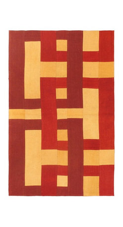 """Torabi Rugs - Flat-weave Bohemian Dark Red Wool Kilim 3'3"""" x 5'3"""" - This patchwork rug is made of vintage classic kilim pieces which are sewn together to form a truly one of a kind larger rug. This quirky and eclectic piece is painstakingly hand stitched. Light weight, this can also be used as a bedspread or throw. A colorful and updated vision of style, color and texture."""
