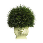 18 1/2-Inch Potted Grass in White Vase - Modeled after the wispy green stalks of Acorus grass, this ornamental planter would make a lovely addition to any covered patio.