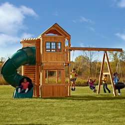 Swing-N-Slide - Swing-N-Slide Durango Swing Set Multicolor - PB 8162 - Shop for Swings Slides and Gyms from Hayneedle.com! With a house-inspired design the Swing-N-Slide Durango Swing Set is where fun lives in the backyard. Crafted with durable wood this playhouse-style set boasts a peaked pergola-style covered play area with large windows. To one side are two classic swing seats and a 360-degree swiveling tire swing and to the other side is a 5-foot Green Turbo Tube slide guaranteed not to crack or break. A climbing wall with secure rock holds offers another way to play. Meets or exceeds ASTM safety standards; for residential backyard use only. Includes 5-year limited manufacturer's warranty; for information call 800-888-1232. About Swing-N-SlideFounded in 1985 Swing-N-Slide was America's first manufacturer of do-it-yourself wooden playground products. This remarkable company designs manufactures and distributes residential and commercial play sets across the nation. Committed to safety and driven by a desire to provide compliant fun and value-packed products Swing-N-Slide backs every play set with quality and pride. They offer unparalleled value and the unique opportunity to tailor playground products to your specific needs and budget.