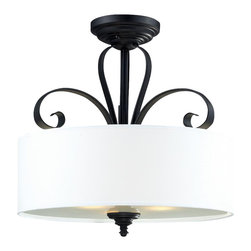Three Light Matte Black White Linen Shade Drum Shade Semi-Flush Mount - A white linen shade and bold matte black hardware create a modernly styled fixture, with plenty of traditional charm. This semi flush mount is truly the best of both the modern and traditionally styles of lighting decor.