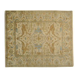 Ivory 8' x 10' Oushak Oriental Rug Hand Knotted 100% Wool Vegetable Dyes SH16908 - Hand Knotted Oushak & Peshawar Rugs are highly demanded by interior designers.  They are known for their soft & subtle appearance.  They are composed of 100% hand spun wool as well as natural & vegetable dyes. The whole color concept of these rugs is earth tones.