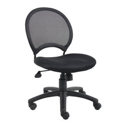 "BOSS Chair - Mesh Back Desk Chair In Black w Armless Desig - Open mesh back designed to offer back support. Solid metal back frame. Breathable mesh fabric seat with ample padding. 25"" nylon base. Adjustable tilt tension control. Hooded double wheel casters. Upright locking position. Pneumatic gas lift seat height adjustment. Cushion color: Black. Base/wood: Black. Seat size: 18 in. W x 19.5 in. D. Seat height: 18.5 in. -22.5 in. H. Overall dimension: 25 in. W x 25 in. D x 34.5-38.5 in. H. Weight capacity: 250 lbs"