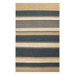 Jaipur Rugs - Naturals Textured Hemp Blue/Ivory Area Rug (4 x 6) - Natural hemp rugs and constructed to last. Striped colors add interest to any room.