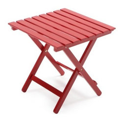 Coral Coast Red Painted Acacia Adirondack Table - Lounge comfortably and keep your drink, magazine, or book handy with the Coral Coast Red Painted Acacia Adirondack Table. This attractive piece is made with durable and eco-friendly Acacia wood. It features a slatted design with a bold, red painted finish. It's also weather resistant and just the right size for your drinks, magazines, books and more. This table is the perfect sun-soaked companion and is ideal on its own or paired with a matching Adirondack set for maximum lounging.About Coral CoastWhat if, when you closed your eyes, you pictured yourself in your own backyard? Coral Coast has a collection of easygoing, affordable outdoor accessories for your patio, pool, or backyard. The latest colors and styles mingle with true classics in weather-worthy fabrics and finished woods, ready for relaxation. Make yours a life of leisure.